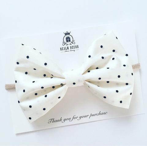 'Lolly' Cream with Black Polka Dots - Big Fabric Bow