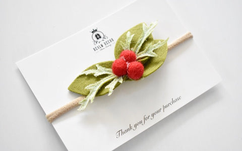 Holly Berry Headband or Hair Clip