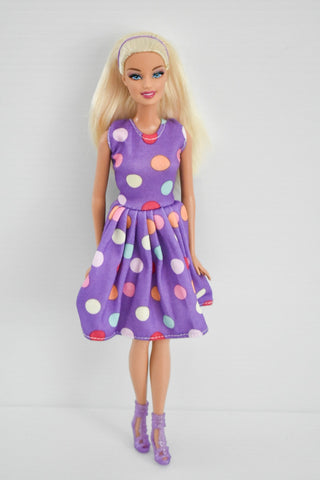 Barbie Rescue - Blonde Purple Polka Dot Dress