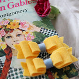 Pigtail Bow Clip Set with Denim Centre- Butter Yellow