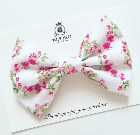 'Lolly' Big Fabric Bow - Bright Pink Floral