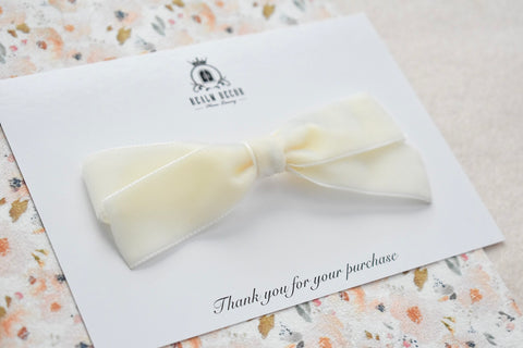 Luxe Cream Velvet Ribbon Bow - Headband