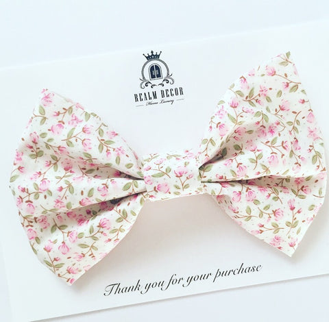 'Lolly' Big Fabric Bow - Pink Roses Floral