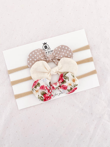 Vintage Charm Fabric Bow Trio Set - Headbands