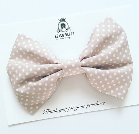 'Lolly' Big Fabric Bow - Beige with White Polka Dots