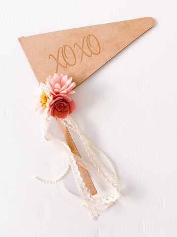 XOXO - Vintage Rose Wooden Engraved Font Flag
