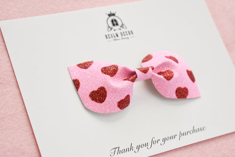 'All My Heart' Glitter Bow - Headband or Clip