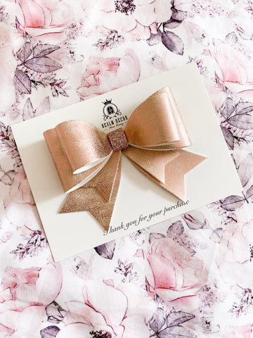 Rose Gold & Glitter Large Bow Clip