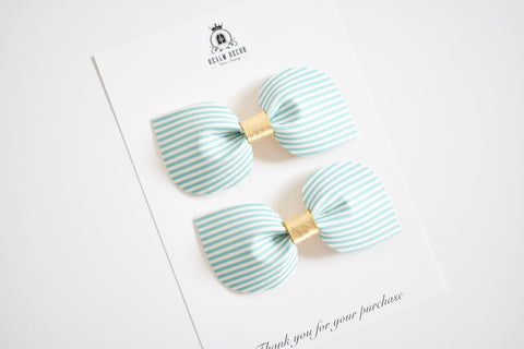 Mint Green Candy Stripe Pigtail Set