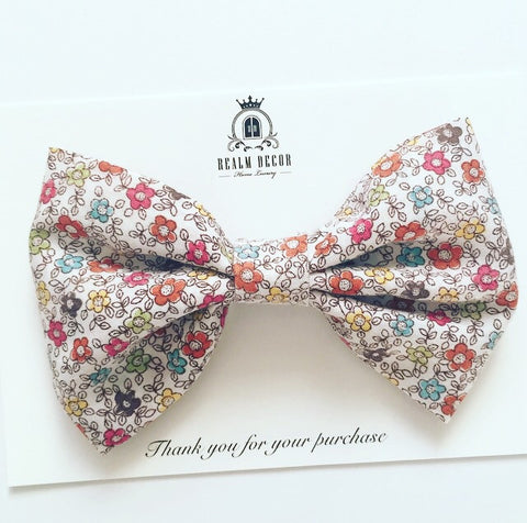 'Lolly' Big Fabric Bow - Autumn Floral