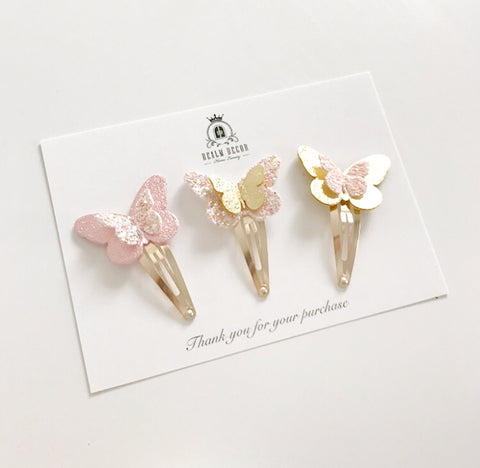 Trio of Butterfly Bling Hair Clips