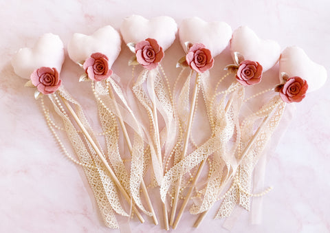 'Vintage Rose' Heart Wands