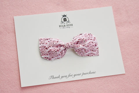 'Pink Glitter Lace' Bow - Headband or Clip
