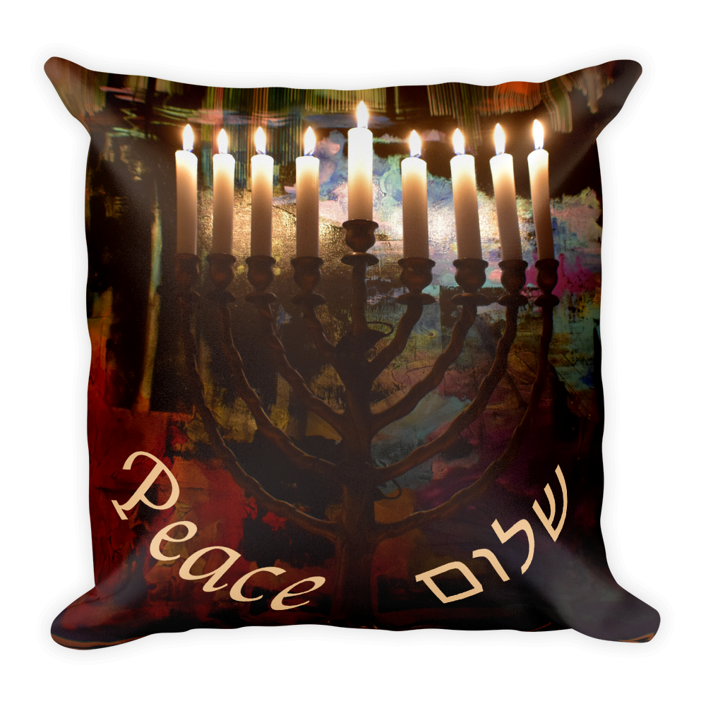 Menorah Painting Pillow for Hanukkah