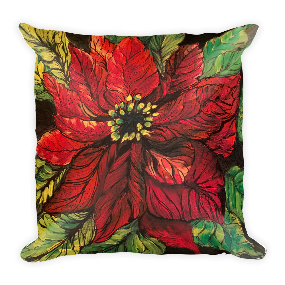 Red Poinsettia Pillow