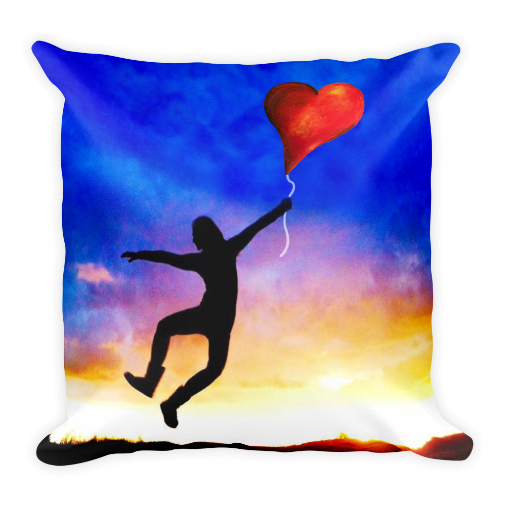 Flying with Love Heart Balloon Pillow