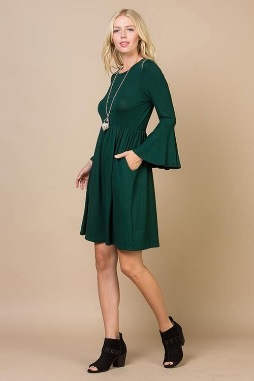 Aynara Fashion Bell sleeve empire waist dress