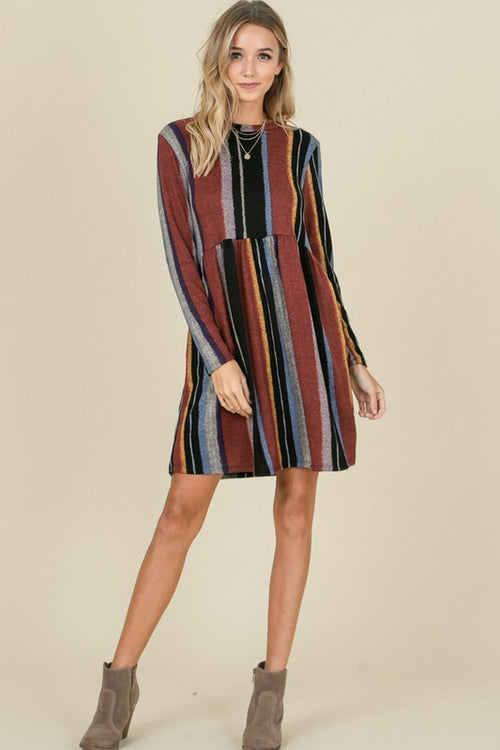 Stripe Empire Waist Pocket Hacci Knee Dress