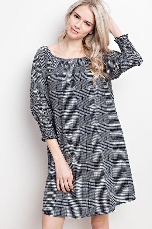 Glen Plaid Off The Shoulder Tunic Dress