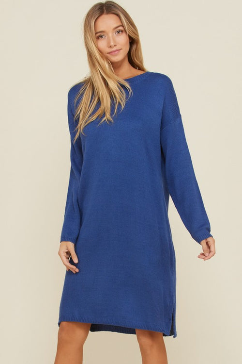 Aynara Fashion Pullover Crotchet Sweater Midi Dress
