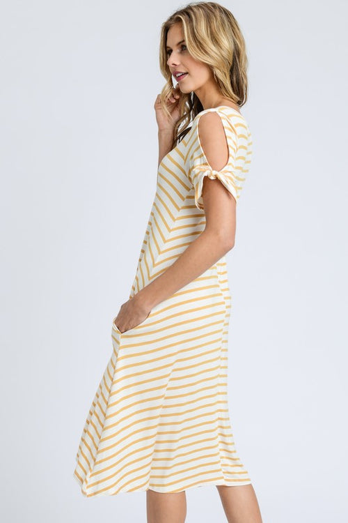 Stripe Cut-out Midi Dress