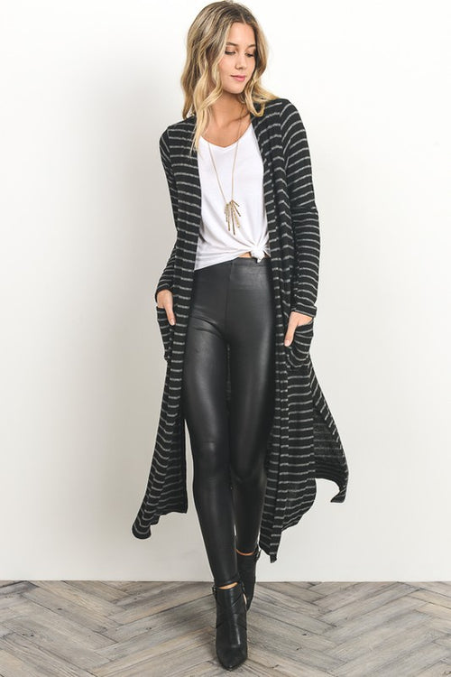 Aynara Fashion Striped Soft Knit Long Cardigan