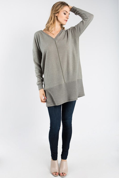 Aynara Fashion Brushed Sweater Tunic Top