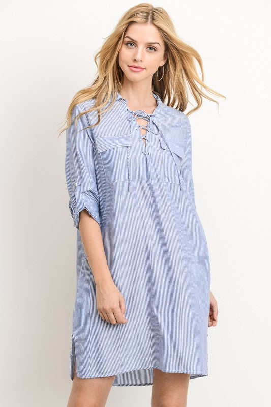 13b23d457ea Blue Stripe Tunic Shirt Dress – Aynara Fashion