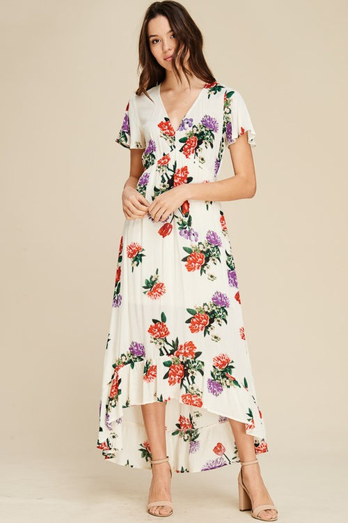 V-neck Floral High-Low Midi Dress