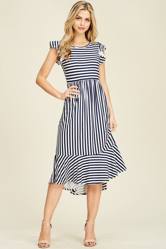 Playful Ruffle Stripe Dress