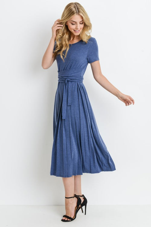 Solid Ruffle Bottom Wrap Dress