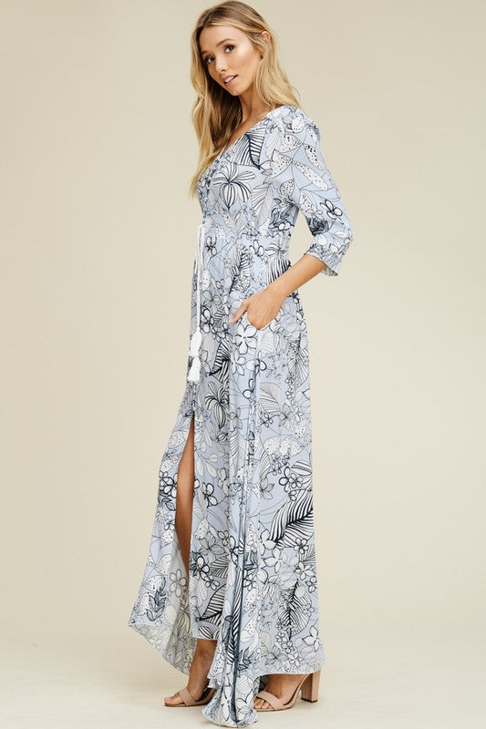 Aynara Fashion Rayon Gauze Floral Maxi Dress with Front Slit