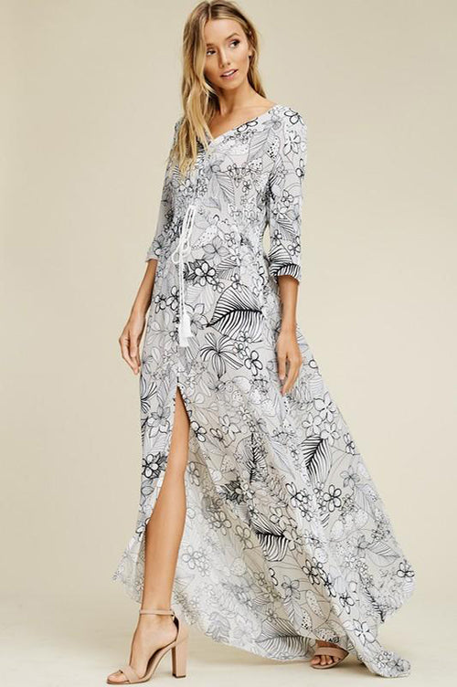 Rayon Gauze Floral Maxi Dress with Front Slit