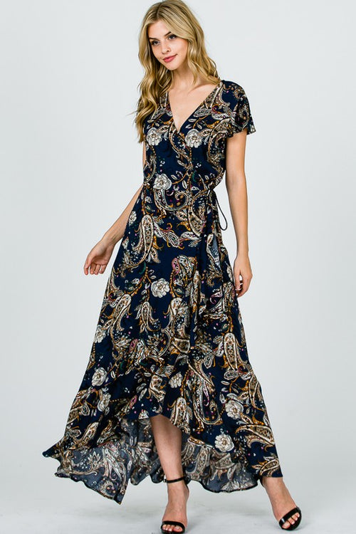 Paisley Printed Wrap Maxi Dress