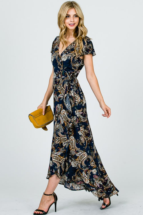 Aynara Fashion Paisley Printed Wrap Maxi Dress