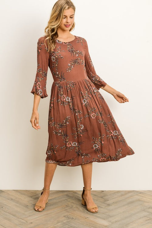 Aynara Fashion Floral Midi 3/4 Sleeve Dress