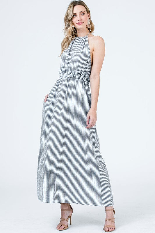 Striped maxi dress backless halter neck