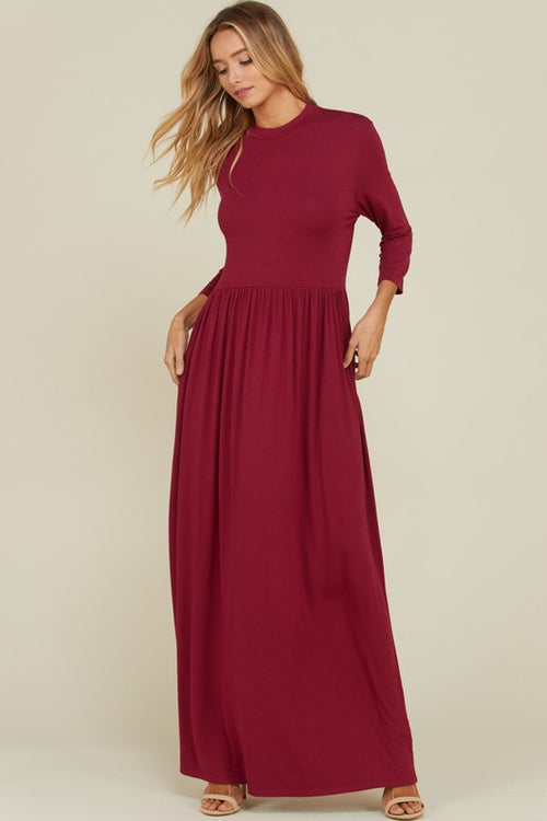 Aynara Fashion 3/4 sleeve Round Neck Maxi Dress