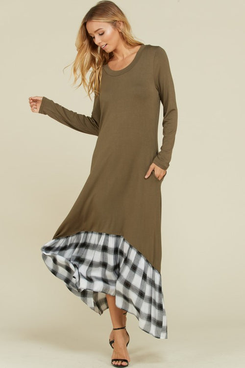 Long Sleeve Maxi Pocket Dress with Plaid Hem
