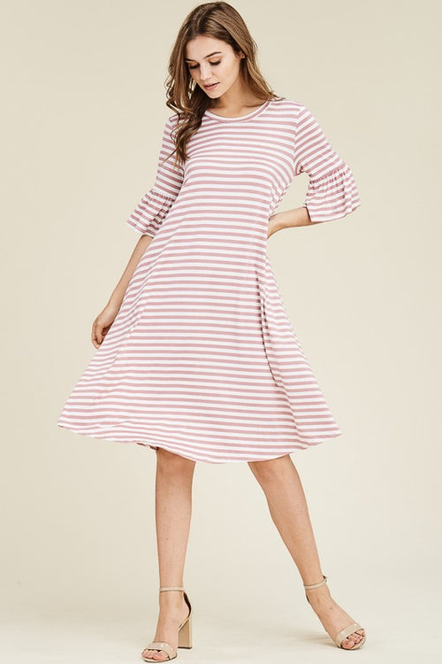 Aynara Fashion Bell Sleeve Basic Flared Midi Dress