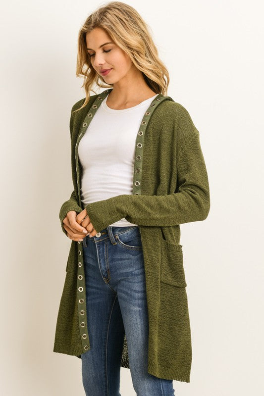 Long Button Front Hooded Cardigan
