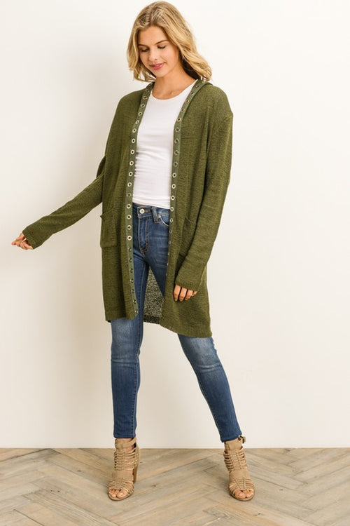 Aynara Fashion Long Button Front Hooded Cardigan