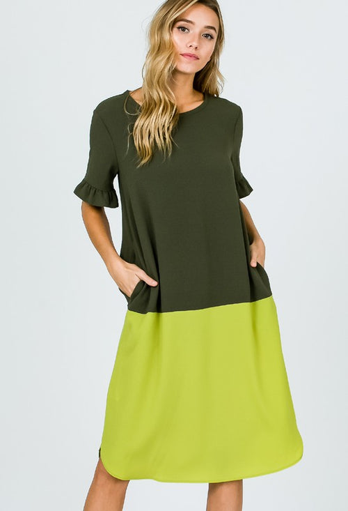 Two Tone Ruffle Sleeve Midi Dress