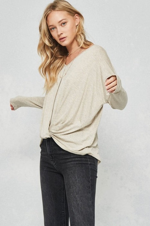 Aynara Fashion High-low loose fit Dropped shoulder knit top