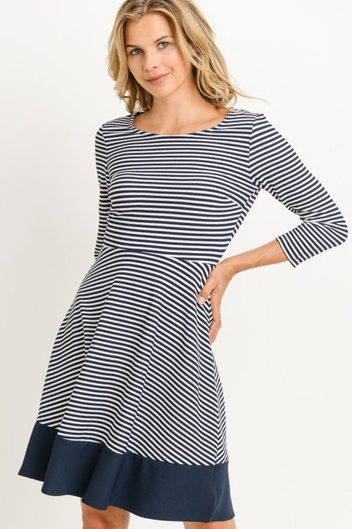 Aynara Fashion Stripe A Line Midi Dress