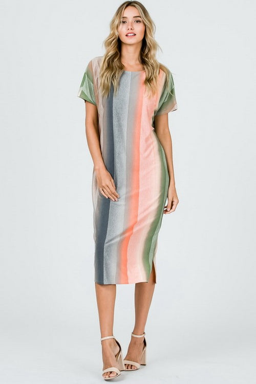 Aynara Fashion Multi Color Striped  Midi Dress