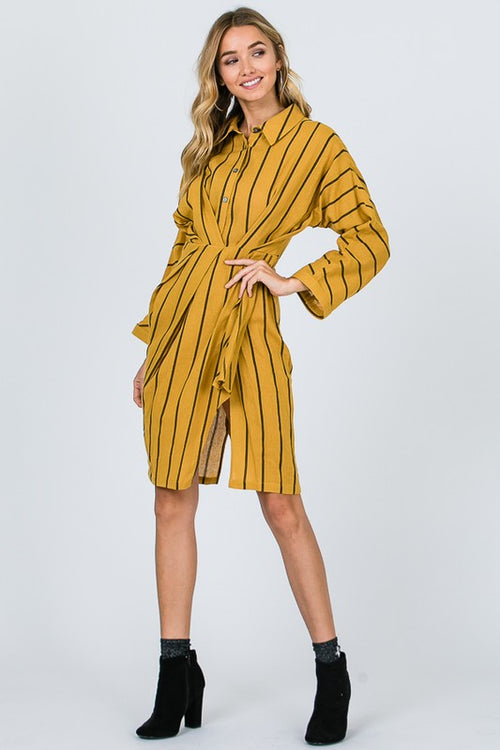 Pleat Bell Sleeve Shirt Dress