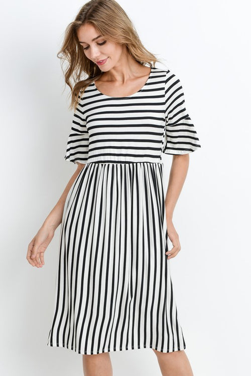 Aynara Fashion Bell Sleeve Stripe Midi Dress