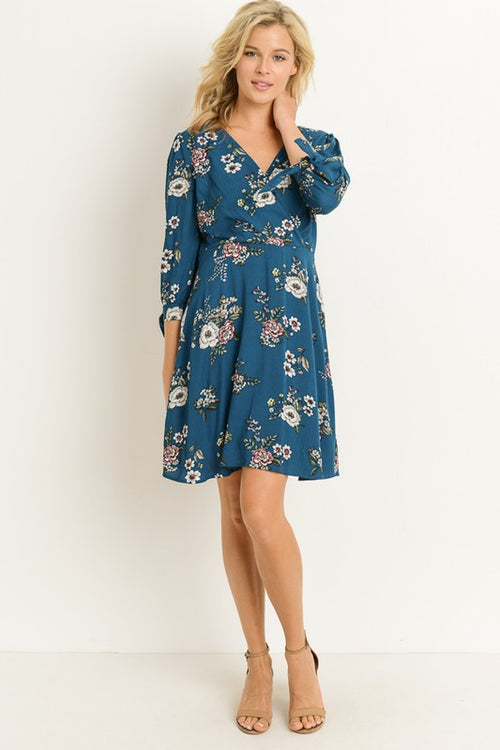 Aynara Fashion FLORAL V-NECK 3/4 SLEEVE MIDI DRESS