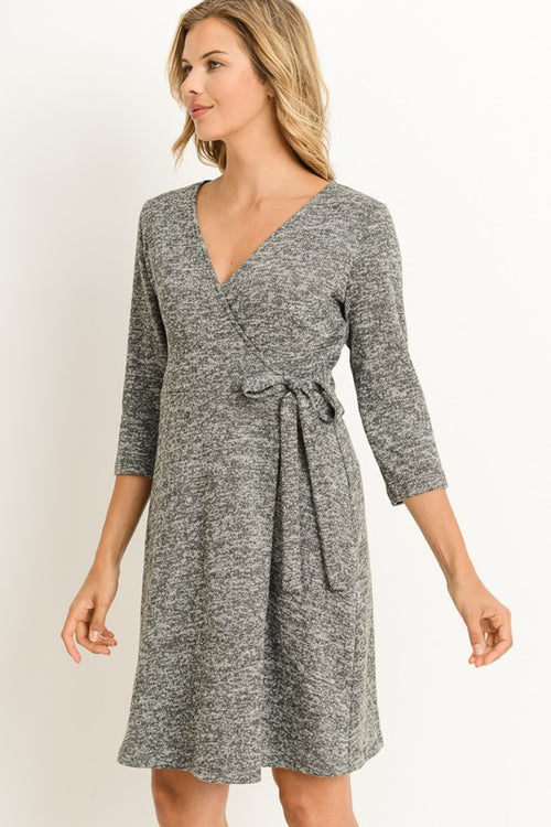 Aynara Fashion 3/4 Sleeves Wrap Dress